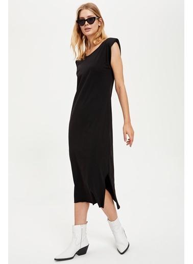 DeFacto Midi Boy Vatkalı Kollu Örme Elbise Siyah